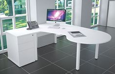 Large white corner desk with conference end, white metal leg frame and matching desk height pedestal. Large Corner Desk, White Corner Desk, L Shaped Executive Desk, Desk Height, Desk Storage, Large White, Pedestal, Office Decor