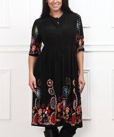 Another great find on #zulily! Black Garden Flourish V-Neck Dress - Plus #zulilyfinds