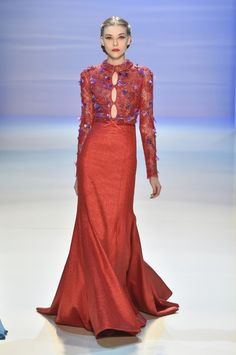 Georges Hobeika Couture Fall-Winter 2014-15 Look 33 Long Red Dress