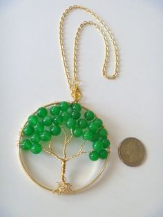 Tree of Life Christmas Ornament with Green Gemstone Beads  #handcrafted #ornament #treeoflife #wirewrapped #jade #ooak #gift