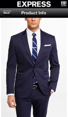 Navy Cotton Sateen Suit by Express
