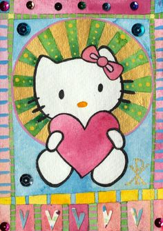 If Hello Kitty was a Novgorod icon by Gabby MALPAS   PLATFORMstore   Watercolour, poster paint, pencil, pen and collage on Indian khadi paper