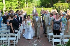 Apple Blossom Plantation - Virginia Venues - Outdoor courtyard wedding ceremony walking down the aisle