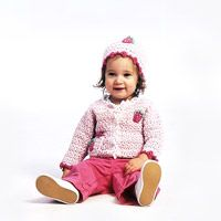 Baby strawberry cardigan and cap (yarn pattern, sweater and hat, 5 pages)