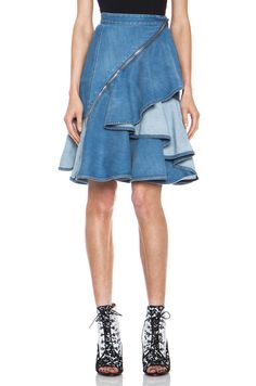 GIVENCHY|Stone Washed Denim Ruffle Skirt in Blue