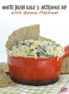 an easy game-day snack without all the guilt. Load up with this healthy and nutritious white bean kale and artichoke dip with quinoa flatbread! Kale Recipes, Vegetarian Recipes, Healthy Recipes, Yummy Recipes, Recipies, Amazing Recipes, Yummy Food, Tapenade, Clean Eating Recipes