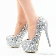 33b841c1c106 Glitter Wedding Shoes 2017 Crystals Beads Pumps High Heels Bridal Shoes 5cm  8cm 11cm 14cm Bling Bling Prom Shoes For Lady Gold Wedding Shoes Online Shoe  ...