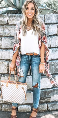 8a766fbb0 12 Awesome Kimono and jeans images | Casual outfits, Kimono fashion ...