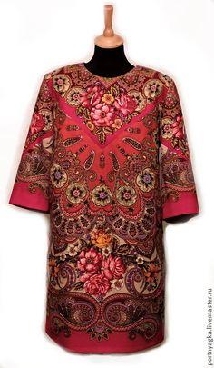 Василиса Премудрая из ППП - ярко-красный,цветочный,платье из платков,павловопосадский платок