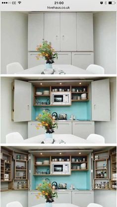 Flat Pack Hivehaus Transforms into Hexagonal Modular Homes - Microwaves - Ideas of Microwaves - Kitchen Shelf Unit, Kitchen Units, Kitchen Ideas, Micro Kitchen, Compact Kitchen, Tiny Spaces, Small Apartments, Modular Homes For Sale, Space Saving Furniture