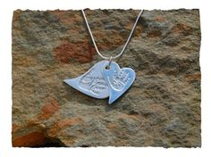 Double stacked handprint or footprint pendant www.silverhavenjewellery.com Irish Jewelry, Silver Jewelry, Contemporary Jewellery, Modern Contemporary, Baby Hands, Silver Gifts, Footprint, Dog Tag Necklace, Jewelry Design