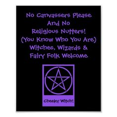 Witches Wizards and Fairy Folk Welcome Poster by www.cheekywitch.con #zazzle #witch #wicca #pagan #paganhumor #doorsign