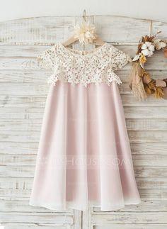 [R$ 201.17] Vestidos princesa/ Formato A Coquetel Vestidos de Menina das Flores - Tecido de seda/Renda Manga curta Decote redondo com Renda (010117694)