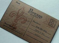 custom French wedding save the date postcard, Fleur De Lis Hand Typed, vintage inspired, set 10