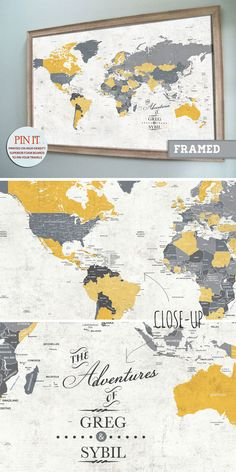 Our very popular push pin maps now come in a larger size to add more impact on your walls.  Pin all your vacations on this clever and classy world