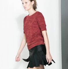 ZARA NEW COLLECTION 2013. FAUX LEATHER PLEATED SKIRT. LOOKBOOK. | eBay