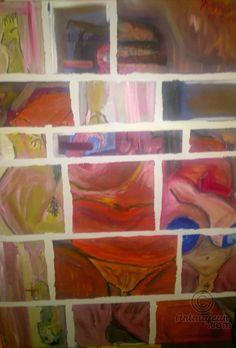 imbriquees 1 1 - Peinture,  100x100 cm ©2015 par myarasm -                                                                                                                                                            Art abstrait, Art conceptuel, Art figuratif, Papier, Tissu, Toile, Amour / Romance, Art abstrait, Corps, Nu, Érotique, femmes, nues, erotiques, transgressif