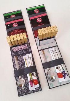 Eins meiner schönsten Projekte bisher, zum Muttertag für Mama und Schwiegermutter: Geschenk-Box mit Tee und Merci-Schokolade Ihr braucht: Einfarbigen und gemusterten Cardstock (250- 270 g/m²) 2 Tee…