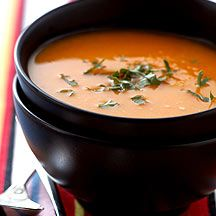 Curried butternut squash soup - zero point soup. A good lunch idea, made easier by the fact Waitrose sells frozen butternut squash.