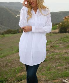 Another great find on #zulily! White Pleated Lace Empire-Waist Button-Up Tunic #zulilyfinds