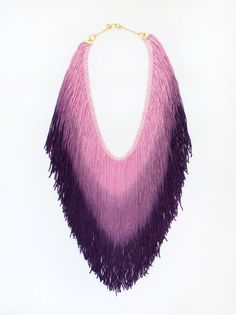 Purple Ombre Fringe Necklace    $110.00    Light, beautiful and charming 20'' long fringe necklace. Nickel free 18K gold plated brass.  Click here, http://www.arturbane.com/collections/necklaces/products/purple-ombre-fringe-necklace #jewelry #necklace