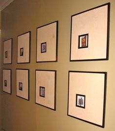 Simple way of transforming plywood into picture frames! Cheap, easy, looks great!