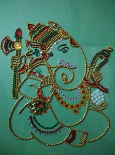 Kundan designs Ganesha Drawing, Lord Ganesha Paintings, Ganesha Art, Ganesh Idol, Diwali Craft, Diwali Diy, Diwali Rangoli, Thali Decoration Ideas, Kalash Decoration