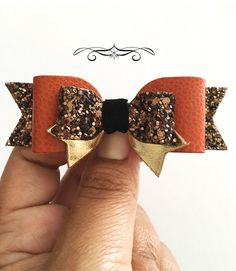Burnt Orange hair bow headband Orange and brown by MeghanandJulie