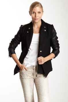 Sam Edelman Mixed Media Wool Jacket by Blazers, Tops & More Up to 75% Off on @HauteLook