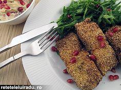 Spicy mayo, arugula & pomegranate seeds crispy fish