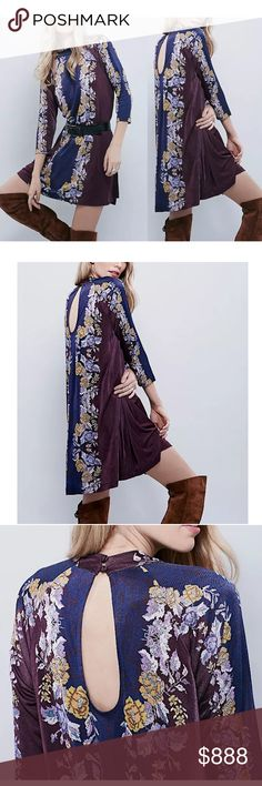 FREE PEOPLE Boho Mini Dress Intricate Swing Tunic Size XS. Brand New Without Tags. $168  MSRP + Tax.  • Beautiful high neck mini dress featuring soft stretchy fabric & long sleeves. • Purple multicolor floral printed design throughout. • Open cutout at back with 2 buttons at neckline. • Textured, lightweight & breathable fabric. • Much prettier in person! • Unlined. • Rayon. • FP New Romantics. • XS = 0-2.  {Southern Girl Fashion}  ✔️ Same-Business-Day Shipping (10am CT). ✔️ Price shown is…
