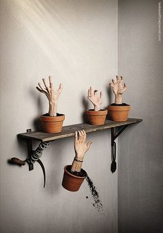 Ohmygodohmygod I need to do this! And   paint one of the thumbs green because zombie plants will be the only plants I   can grow without killing them (again)!