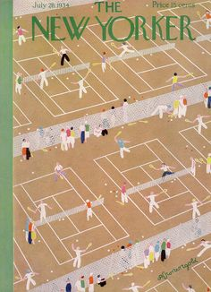 Tennis Courts Club Sports Leisure Art Print featuring the painting New Yorker July 1934 by Adolph K Kronengold The New Yorker, New Yorker Covers, Capas New Yorker, Tennis Posters, Tennis Serve, Tennis Match, Vintage Tennis, Tennis Fashion, Illustration