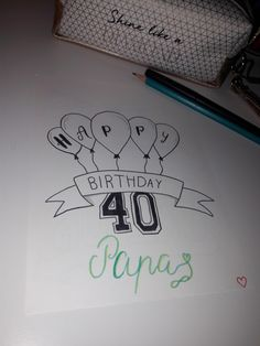 Happy Birthday Papa, Bullet Journal, Bujo, Dyi, Anna, Gift Drawing, Dad Gifts
