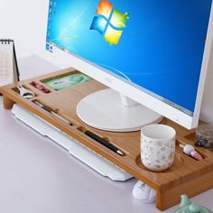 Bamboo WOOD Luxury Monitor Stand Riser, Bamboo Office Desk Storage Organizer-in Mobile Phone Holders & Stands from Cellphones & Telecommunications on Aliexpress.com | Alibaba Group