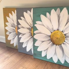 Coffee art painting draw canvases oil on canvas Ideas Daisy Painting, Flower Painting Canvas, Easy Flower Painting, Flower Art, Painting Abstract, Painting Art, Cute Canvas Paintings, Easy Canvas Art, Simple Acrylic Paintings