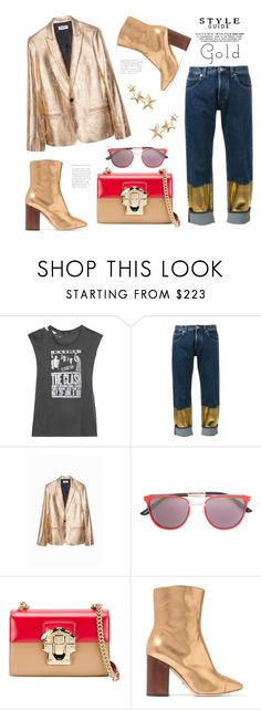 """Golden Girl"" by badassbabyboomer ❤ liked on Polyvore featuring R13, Loewe, Zadig & Voltaire, Smoke x Mirrors, Dolce&Gabbana, Brother Vellies and Kenneth Jay Lane"