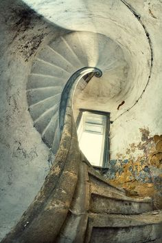 Lovely old staircase in decaying building