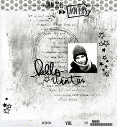 123val Mixed Media Scrapbooking, Hello Winter, Monochrome, Create, Boys, Layouts, Sketch, Painting, Ink