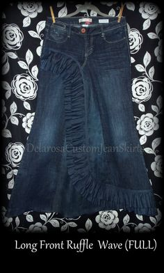 Custom Order to Your size Front Ruffle Wave Long Jean Skirt size 0-14. $65.00, via Etsy. Love this skirt <3