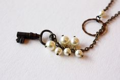 Key Lariat Necklace with Pearls  by Compass Rose