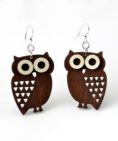 Brown Little Hoot Owl Drop Earrings #zulily #zulilyfinds