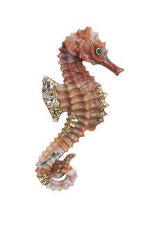 Nicholas Varney petrified coral seahorse pin with inlayed 18K gold, diamonds an emerald eye