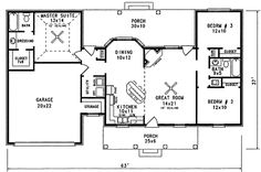 Find your dream farm style house plan such as Plan which is a 1298 sq ft, 3 bed, 2 bath home with 2 garage stalls from Monster House Plans. House Layout Plans, House Plans One Story, New House Plans, Story House, Small House Plans, House Layouts, House Floor Plans, House Plans 3 Bedroom, Ranch House Plans
