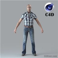 Free 3D Model: Cinema 4D Human - RIGGED 3D Man (CMan0010Mc4d)