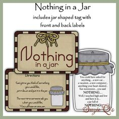 Make your own Jar of Nothing - Labels and Tag - Digital Printable Kit - Great Gift Idea. $1.50, via Etsy. (YOU CAN PURCHASE)