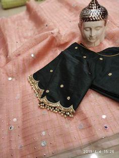 blouse designs latest Latest simple blouse sleeve design - The handmade craft Pattu Saree Blouse Designs, Silk Saree Blouse Designs, Bridal Blouse Designs, Blouse Patterns, Simple Blouse Designs, Stylish Blouse Design, Saris, Trends, Couture