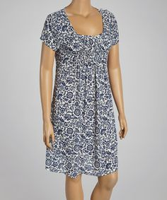 Love this Navy Floral Scoop Neck Dress - Plus by Reborn Collection on #zulily! #zulilyfinds