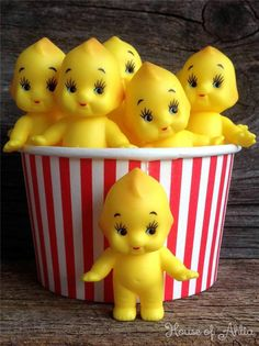 Kewpie Dolls Yellow x 10 Made in Japan - Baby Shower Decorations and Cupcakes