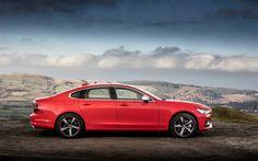 Télécharger fonds d'écran Volvo S90 R-Design, 2018, 4k, berline, rouge S90, de nouvelles les voitures, les suédois de voitures, Volvo
